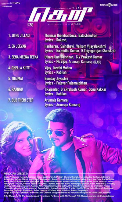Live Chennai: Theri Songs Track List,Theri Songs, Track List