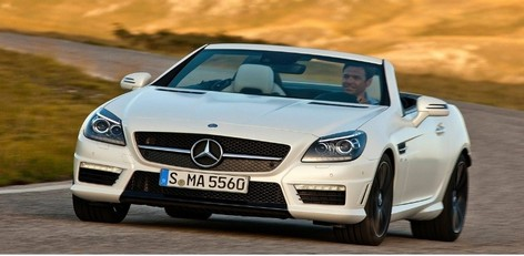 A Two Seater Sports Car At A Cost Of Rs 1.3 Crore Was Launched In India By  Mercedes. The 5.5 Litre V8 Petrol SLK 55 AMG Will Cost At Rs 1.26 Crore ...